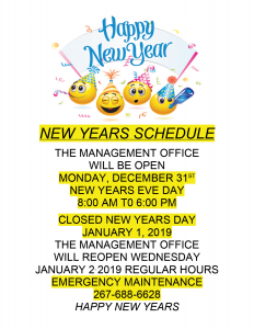 New Years Schedule 2019