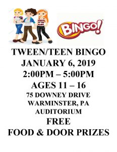 TWEEN-TEEN BINGO at Warminster Heights