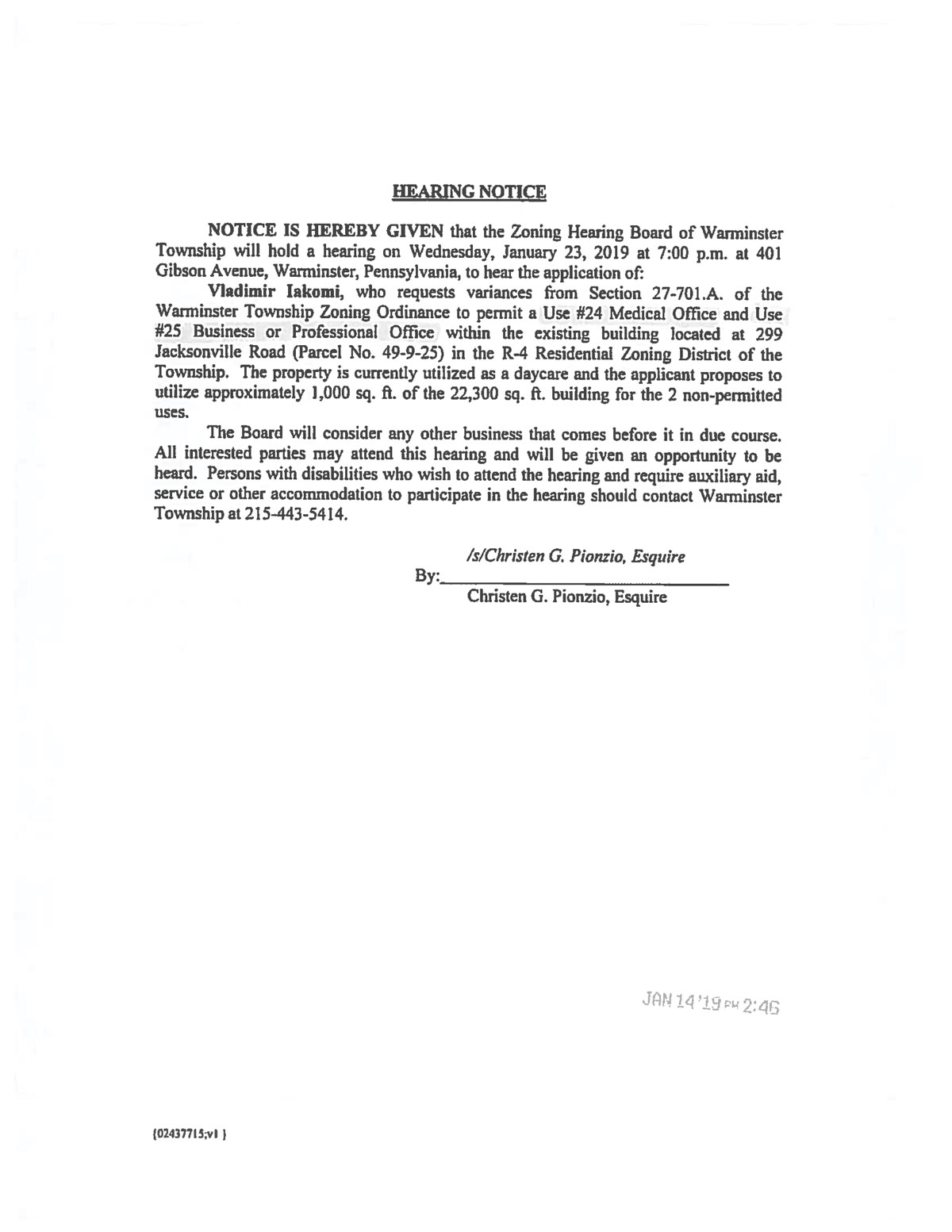 Notice for Township Zoning
